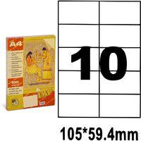 Этикетки самоклеющиеся A4, 100 л., 10 шт., 105x59.4 мм