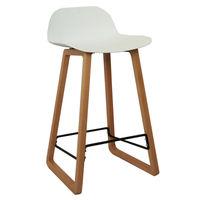 купить Барный стул из пластика, деревянные ножки 460x470x865 мм, белый в Кишинёве