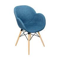 Пластиковый стул с обивкой, деревянные ножки 600x580x840 мм, темно-синий