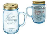 Банка для напитков с ручкой и крышкой Q.S. 0.415l, голубая