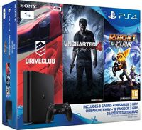 Sony PlayStation 4 1TB Black + 3 Games (Uncharted 4 +DRIVECLUB + Ratchet & Clank)