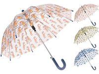 Зонт-трость детский автомат D58cm, прозрачный, рис. животные