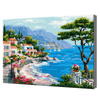 Городок на побережье, 30x40 см, алмазная мозаика QS200278