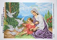 Схема для вышивки бисером Мария, Иисус и голуби