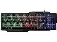 Tastatură pentru jocuri Qumo Cobra, 12 taste Fn, placă metalică, iluminare din spate, negru, USB
