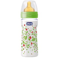 cumpără Chicco Biberon plastic Well Being tetină latex, flux rapid, romantic 0%BPA, 4+, 330 ml (206343) în Chișinău