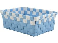 Cos impletit 19X14X8cm albastru cu alb, plastic