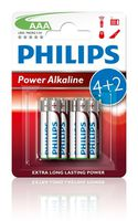 Батарейка Philips Power Alkaline AAA B6 (6 шт.), LR03 Powe Alkaline B6