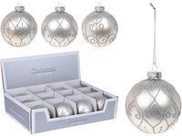 Decor brad Ornament  80mm, sticla, aurgintiu, 3 modele