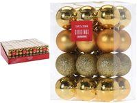 Set de globuri 24X30mm aurii in cutie, 3 modele