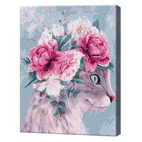 Pisică în coroniță din flori, 40х50 cm, pictură pe numere Articol: GX37778