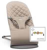 Кресло-шезлонг  BabyBjorn Bliss Sand Grey с игрушкой