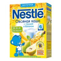 Nestle кашка овсяная молочная с грушей и бананом, 6+мес. 250г