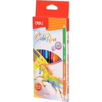 DELI Карандаши цветные DELI Run DUO, 12 штук - 24 цвета
