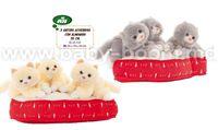 Artesanía Beatriz 6438 Мягкая игрушка 3 котенка на подушке 35 см в ассортименте
