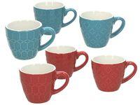 Чашка рельефная Kubik 90ml, красная, голубая