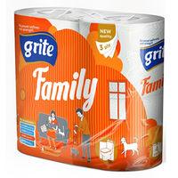 GRITE - Туалетная бумага FAMILY 3 слоя 4 рулона 18,75м