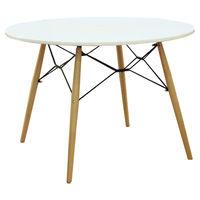 купить Пластиковый стол с деревяннами ножками и со стальной опорой, 1000x1000x710 мм, белый в Кишинёве