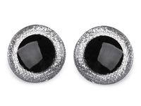 Ochi cu sclipici pentru jucării, cu dispozitiv de siguranță, Ø40 mm / argintiu