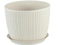 Горшок для цветов пластиковый Idea М3121 Вязание белый, 2.8 л