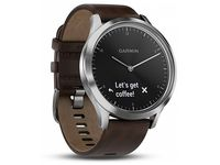 GARMIN Vivomove HR Premium Silver with Dark Brown Leather Band