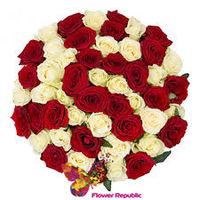 купить Букет из 51  красных белых эквадорских роз  50-60 см в Кишинёве