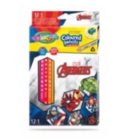 Набор цветны х карандашей + 1 карандаш с 2 цветами серебро / золото - Colorino Dinsey Avengers