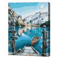 Barcă lângă lacul Braies, 40х50 cm, pictură pe numere BS29450