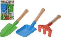 Set instrumente de gradinarit pentru copii 3buc, сu maner din lemn