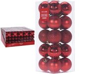 Набор шаров 20X40mm, красные в коробке, 3 дизайна
