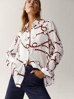 Блуза Massimo Dutti Белый с принтом 5104/812/641