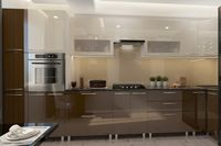 Bucătărie Bafimob Corner (High Gloss) 4.1x0.9m Eco +ball closer Brown/Beige