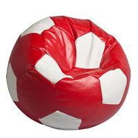 Bean bag Football medium Red&White Кресло мешок Футбольный Мяч медиум