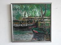 Лодки в Вилково на Дунае, 46x46 см, холст, масло