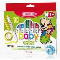 Carioci Fibracolor 10 culori pentru lavabile fără săpun 1+