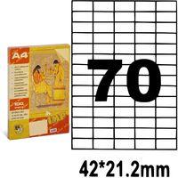 Этикетки самоклеящиеся A4, 100 л., 70 шт., 42x21.2 мм