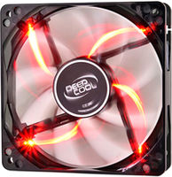 "120mm Case Fan - DEEPCOOL ""WIND BLADE 120 RED"" Fan with 4 red  LED, 120x120x25mm, 1300rpm, <26dBa, 65.16CFM, Hydro Bearing, Black"