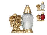 Свеча поминальная 24cm с ангелом 28часов, белая/кр, стекло