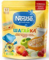 Nestle каша Шагайка мультизлаковая молочная с яблоко, земляника и персик, 220 гр