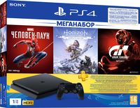 Game Console Sony PlayStation 4 Slim 1Tb + Gran Turismo + Horizon Zero Down + Spider Man