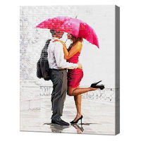 Влюбленные под зонтиком, 40x50 см, комбо-набор для рисования номеров + алмазная мозаика, YHDGJ74930