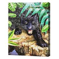 Охота на пантеру, 40x50 см, комбо-набор для росписи номеров + алмазная мозаика, YHDGJ72776