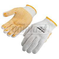"""Перчатки рабочие хлопок и полиэстер 10"""" - белые с желтыми точками ПВХ TOLSEN"""