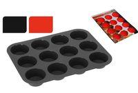 Форма для выпечки на 12 кексов Cucina, силикон,красн/ч