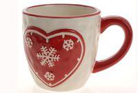 купить Чашка рождественская бело-красн с сердечк (конус) в Кишинёве