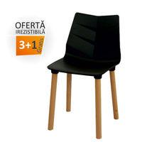 купить Пластиковый стул, деревянные ножки 500x460x830 мм, черный в Кишинёве