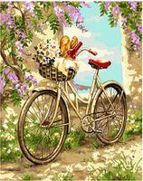 Pictura pe numere 40x50 Bicicletă în grădină VA1286