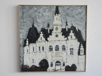Замок в Будмерице (Словакия), 50x50 см., холст, масло