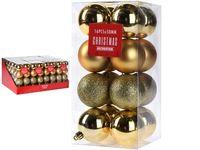 Set de globuri 16X50mm aurii in cutie, 3 modele