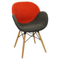 купить Пластиковый стул с обивкой, деревянные ножки 600x580x840 мм, красный с коричневым в Кишинёве